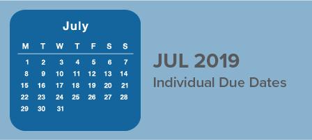 July 2019 Individual Due Dates   D & D Enterprises